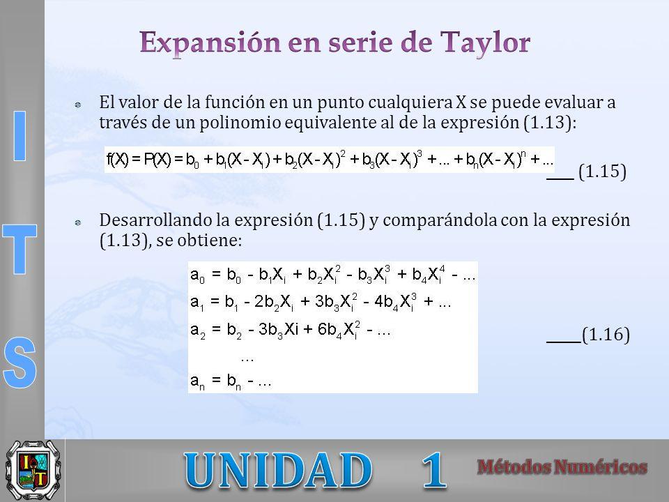 El valor de la función en un punto cualquiera X se puede evaluar a través de un polinomio equivalente al de la expresión (1.13): ____ (1.15) Desarroll