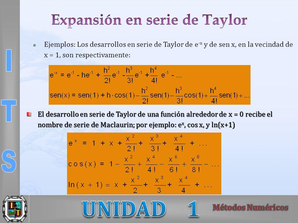 Ejemplos: Los desarrollos en serie de Taylor de e -x y de sen x, en la vecindad de x = 1, son respectivamente: El desarrollo en serie de Taylor de una
