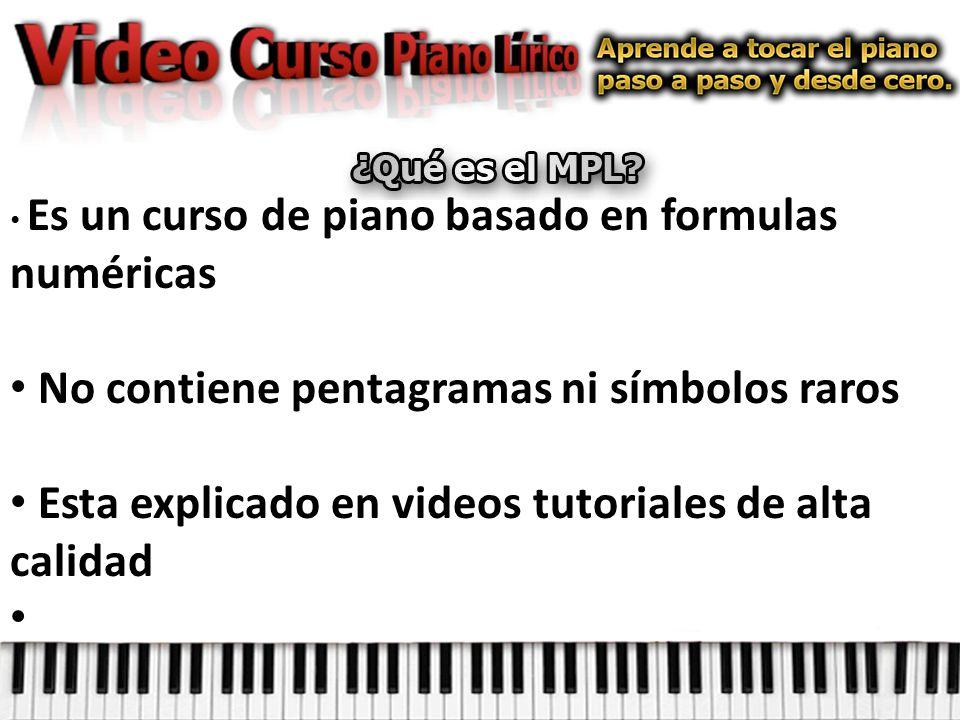 Es un curso de piano basado en formulas numéricas No contiene pentagramas ni símbolos raros Esta explicado en videos tutoriales de alta calidad