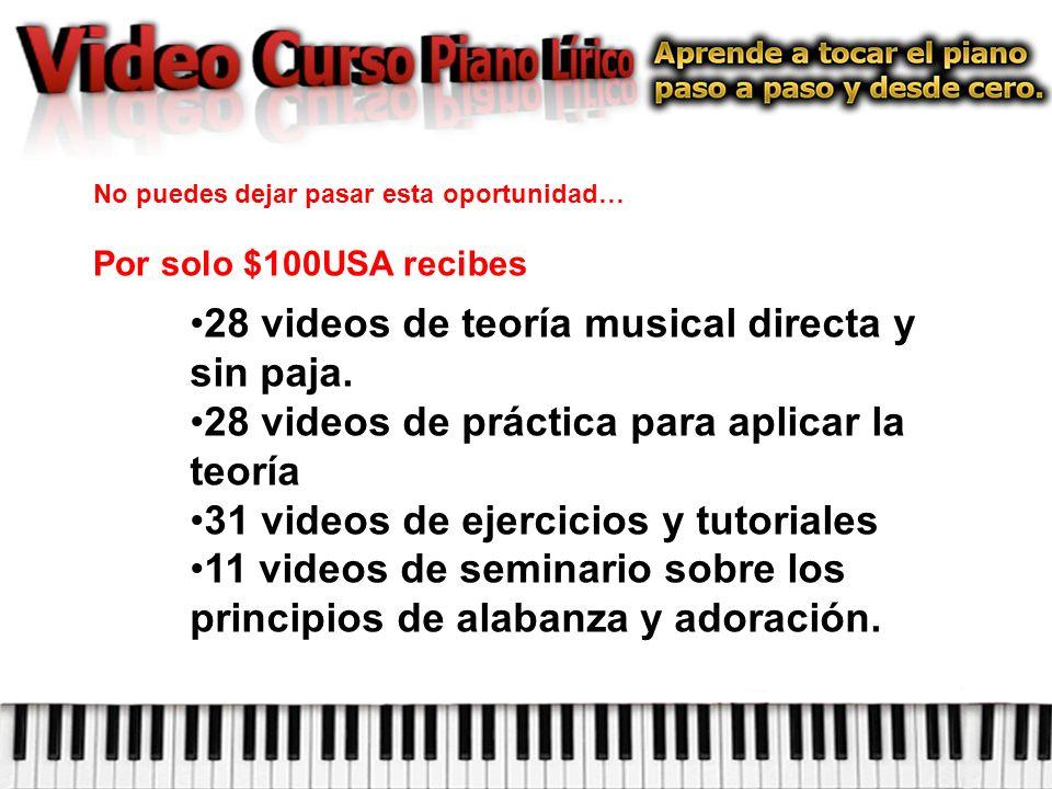 No puedes dejar pasar esta oportunidad… Por solo $100USA recibes 28 videos de teoría musical directa y sin paja.