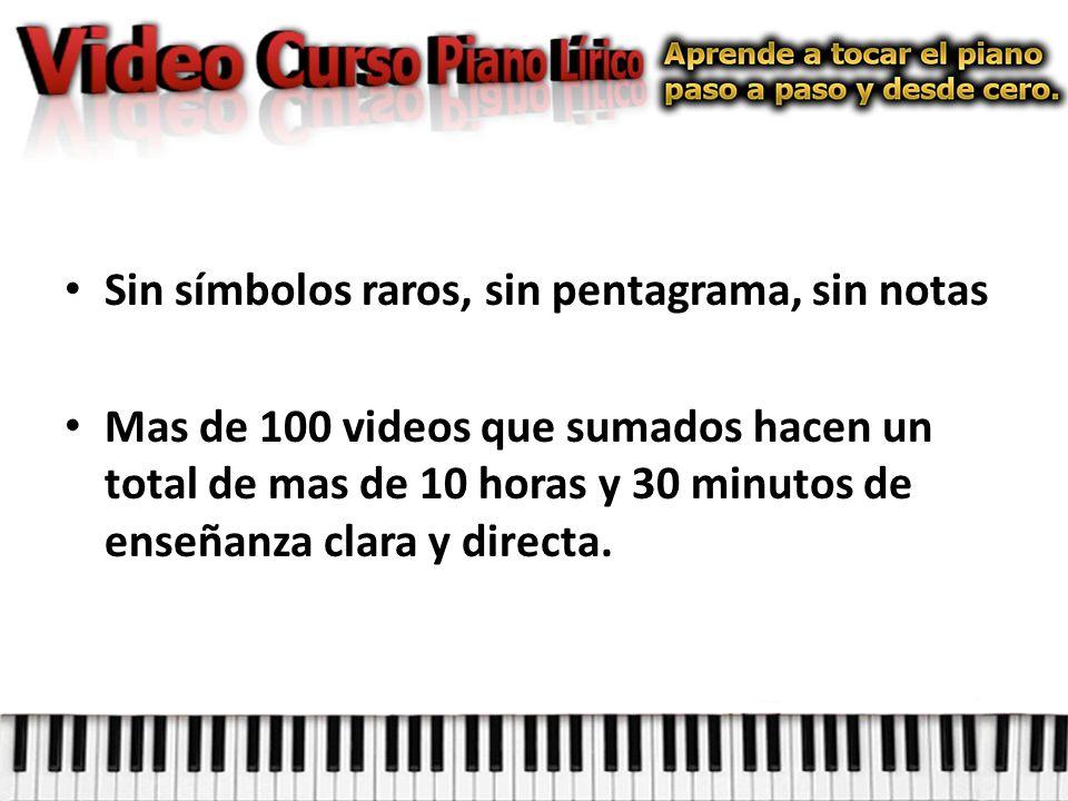 Sin símbolos raros, sin pentagrama, sin notas Mas de 100 videos que sumados hacen un total de mas de 10 horas y 30 minutos de enseñanza clara y directa.
