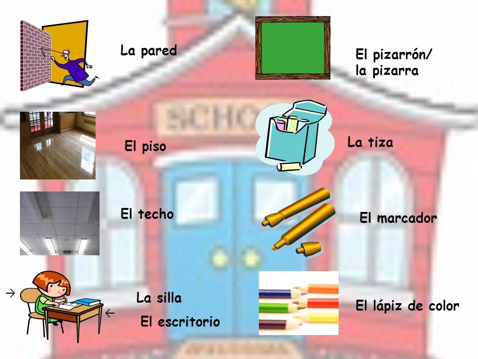 La pared El piso El techo La silla El escritorio El pizarrón/ la pizarra La tiza El marcador El lápiz de color