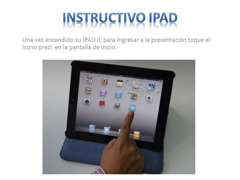 Una vez encendido su IPAD II, para ingresar a la presentación toque el ícono prezi en la pantalla de inicio.