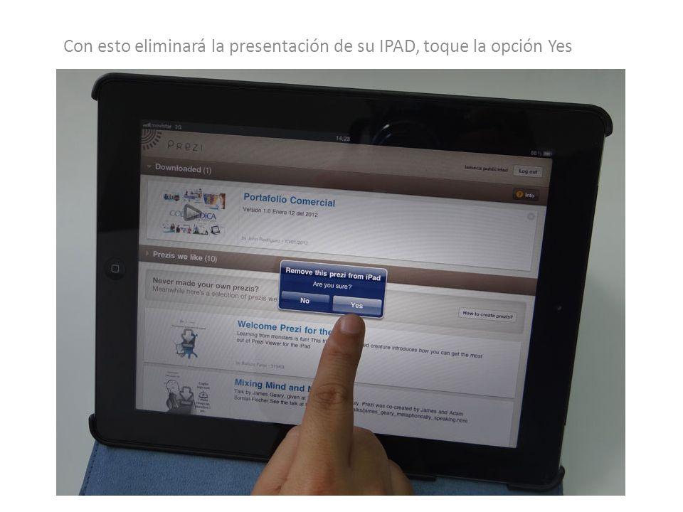 Con esto eliminará la presentación de su IPAD, toque la opción Yes