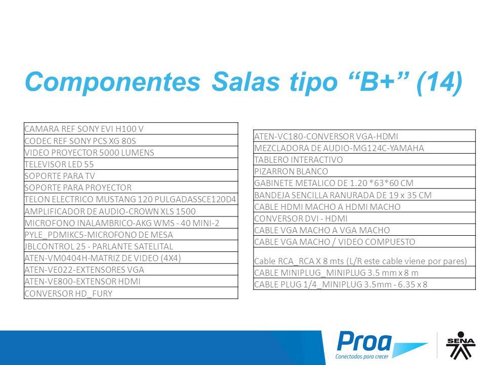 Componentes Salas tipo B+ (14) CAMARA REF SONY EVI H100 V CODEC REF SONY PCS XG 80S VIDEO PROYECTOR 5000 LUMENS TELEVISOR LED 55 SOPORTE PARA TV SOPOR