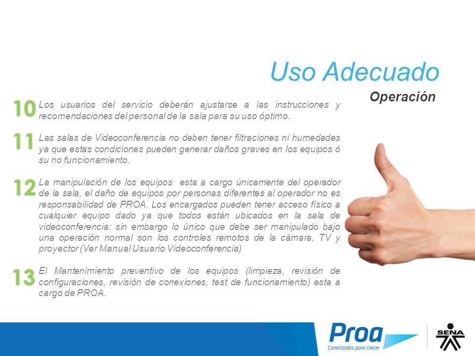 Los usuarios del servicio deberán ajustarse a las instrucciones y recomendaciones del personal de la sala para su uso óptimo. Las salas de Videoconfer