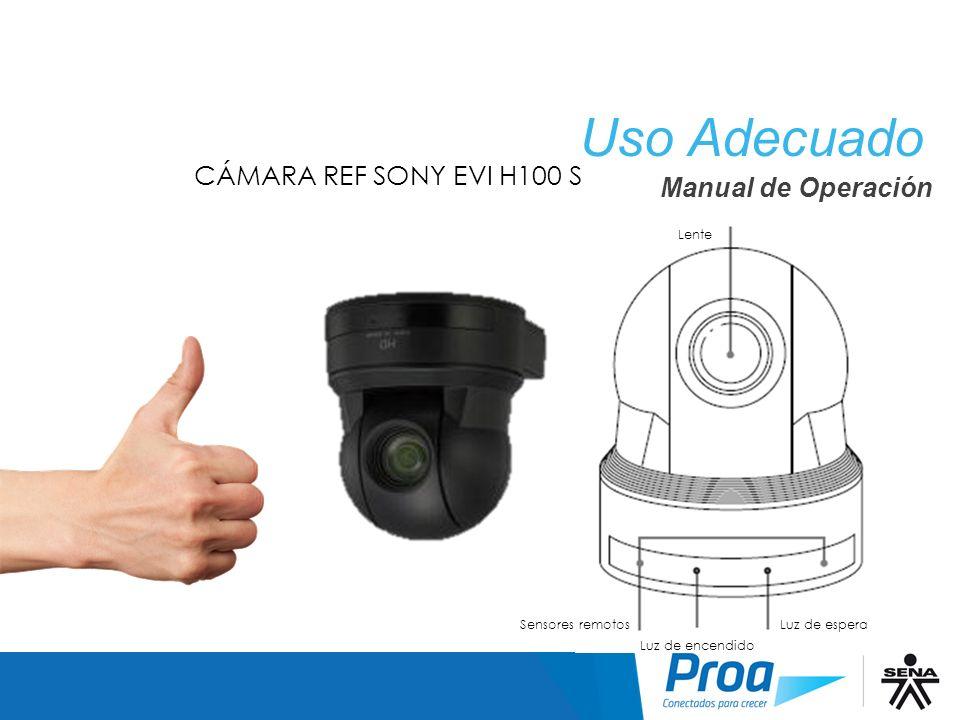 CÁMARA REF SONY EVI H100 S Lente Sensores remotos Luz de encendido Luz de espera Uso Adecuado: Manual Uso Adecuado Manual de Operación