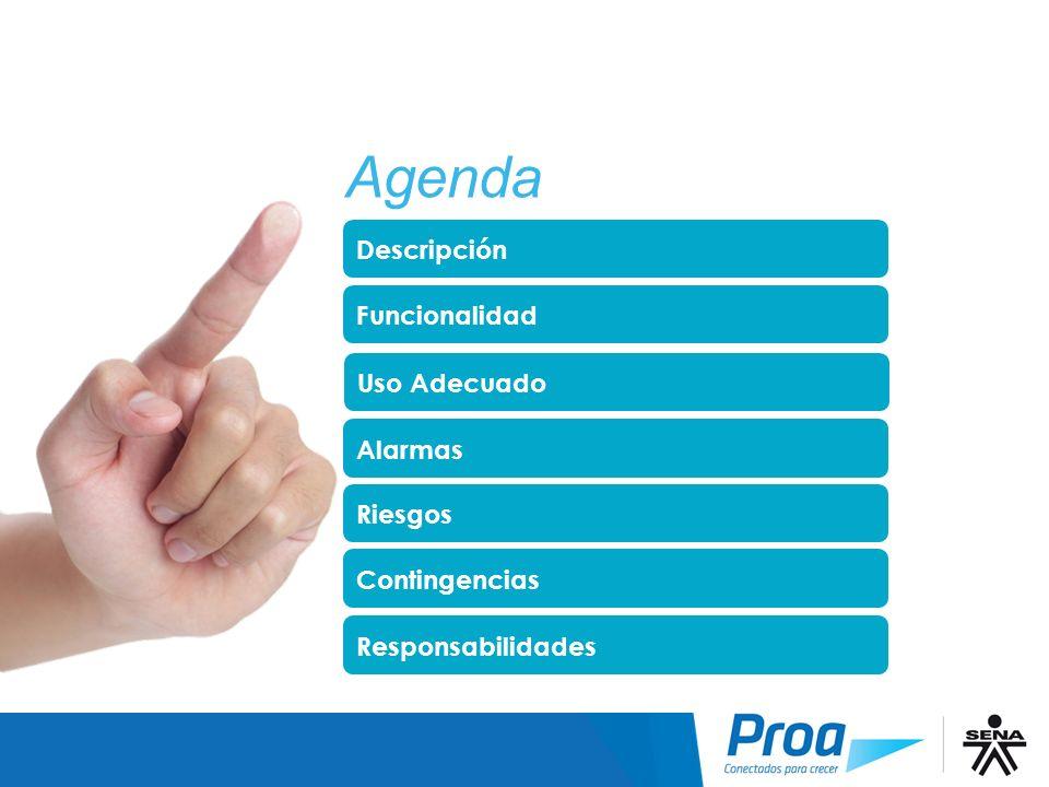 Agenda Descripción Funcionalidad Alarmas Riesgos Contingencias Responsabilidades Uso Adecuado Agenda