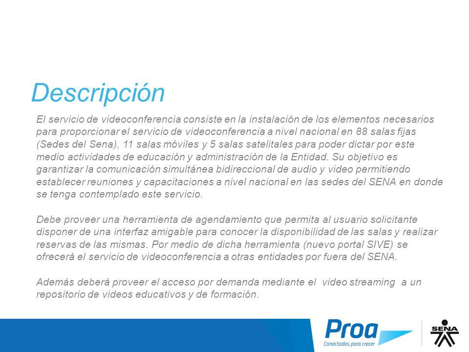 Descripción I El servicio de videoconferencia consiste en la instalación de los elementos necesarios para proporcionar el servicio de videoconferencia
