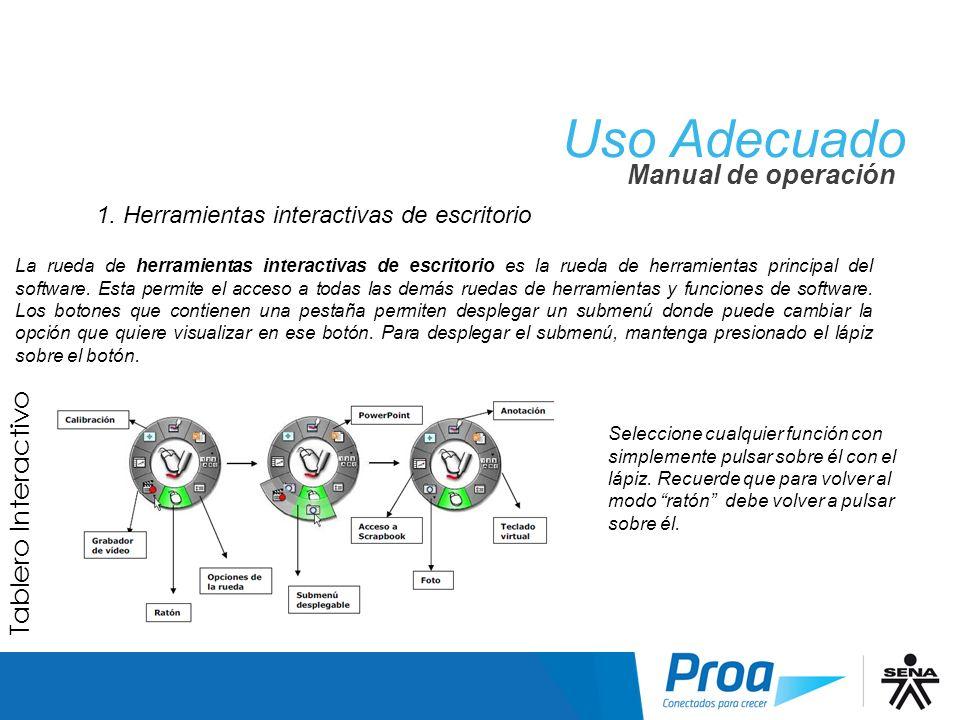 1. Herramientas interactivas de escritorio La rueda de herramientas interactivas de escritorio es la rueda de herramientas principal del software. Est