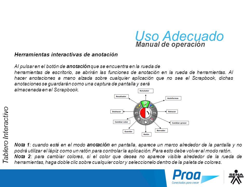 Uso Adecuado Manual de operación Herramientas interactivas de anotación Al pulsar en el botón de anotación que se encuentra en la rueda de herramienta