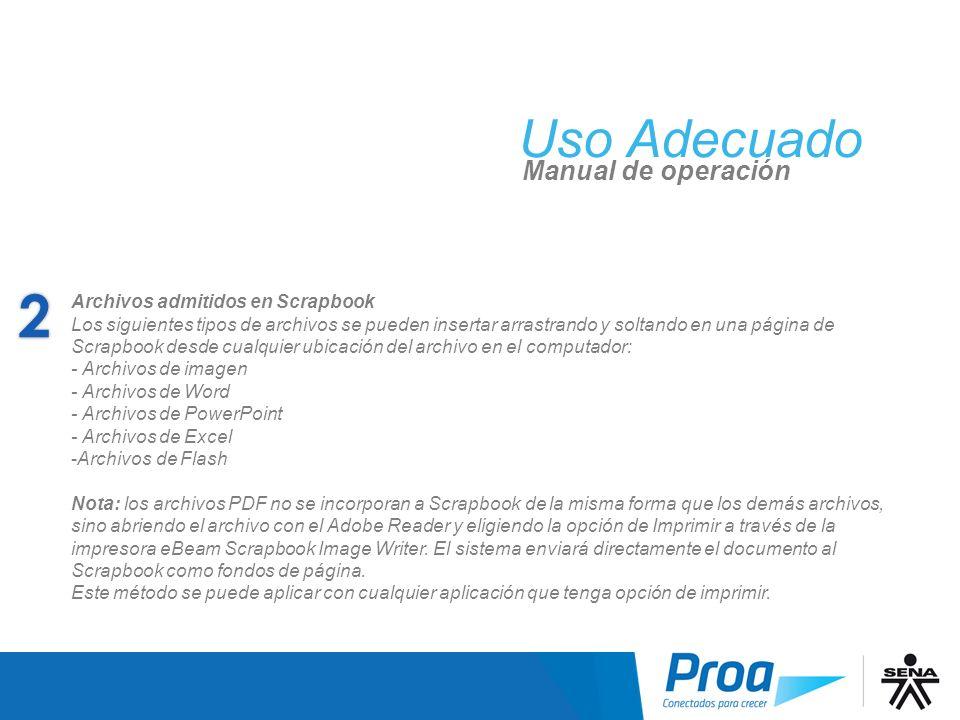 Uso Adecuado Manual de operación Archivos admitidos en Scrapbook Los siguientes tipos de archivos se pueden insertar arrastrando y soltando en una pág