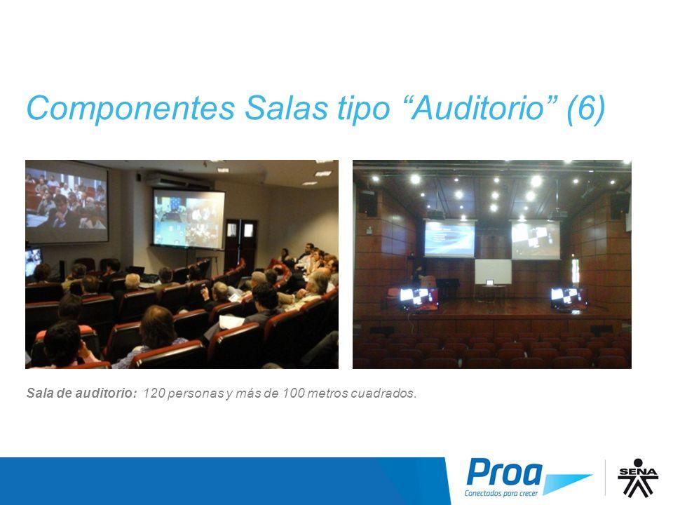 Componentes Salas tipo Auditorio (6) Sala de auditorio: 120 personas y más de 100 metros cuadrados.