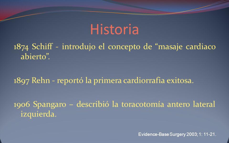 Historia 1874 Schiff - introdujo el concepto de masaje cardiaco abierto. 1897 Rehn - reportó la primera cardiorrafia exitosa. 1906 Spangaro – describi