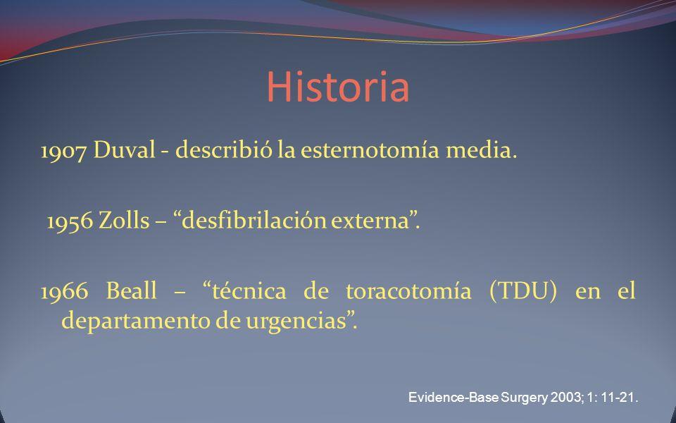 1907 Duval - describió la esternotomía media. 1956 Zolls – desfibrilación externa. 1966 Beall – técnica de toracotomía (TDU) en el departamento de urg