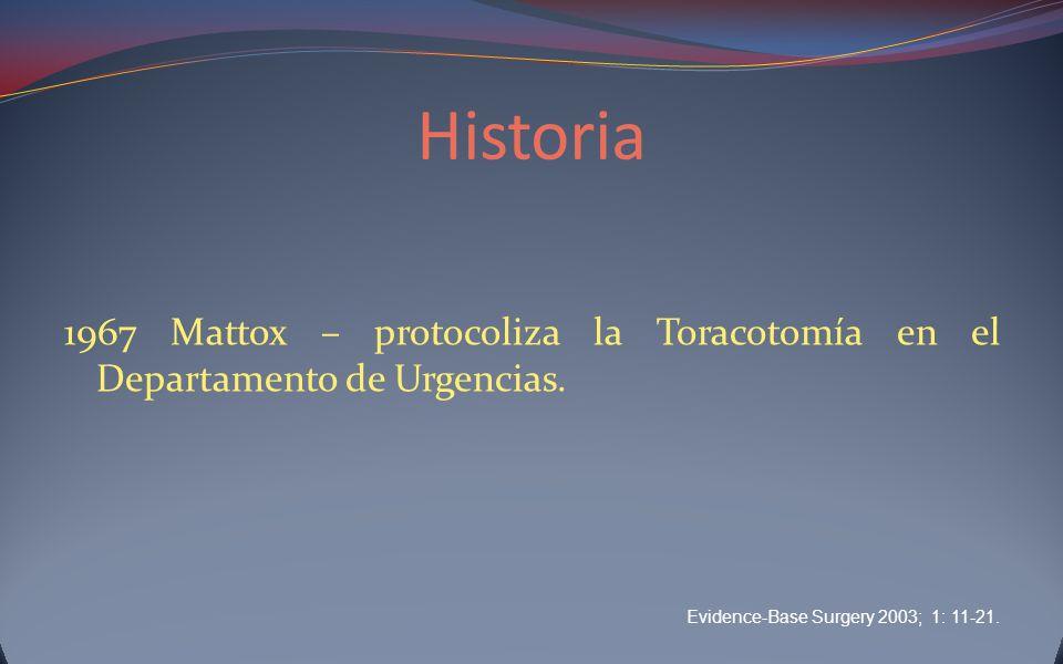 Historia 1967 Mattox – protocoliza la Toracotomía en el Departamento de Urgencias. Evidence-Base Surgery 2003; 1: 11-21.