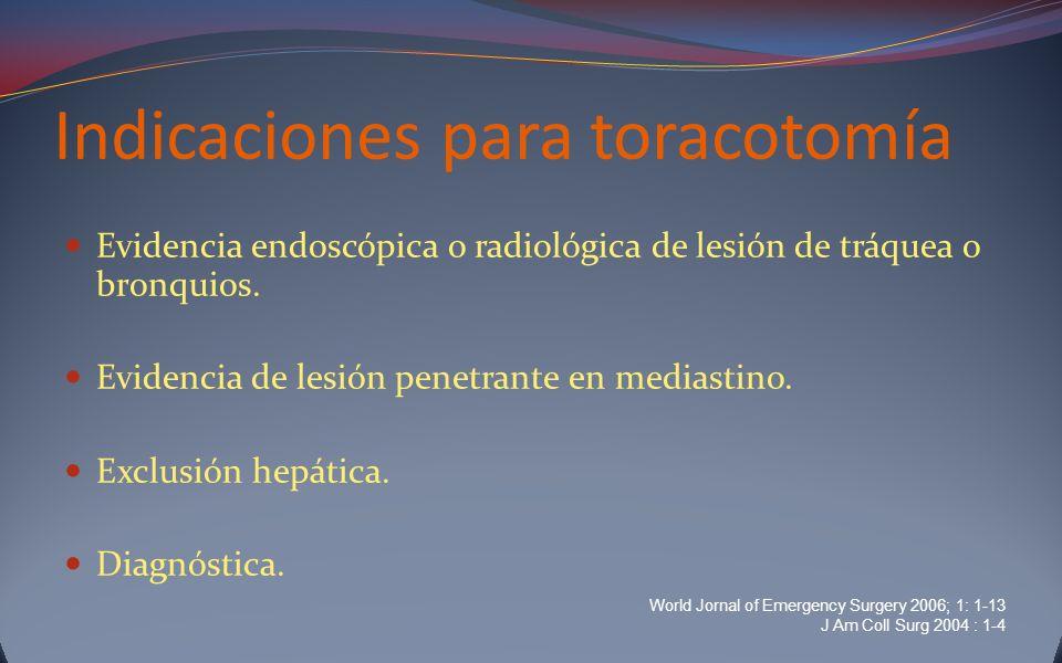 Indicaciones para toracotomía Evidencia endoscópica o radiológica de lesión de tráquea o bronquios. Evidencia de lesión penetrante en mediastino. Excl