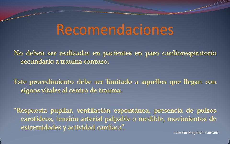 Recomendaciones No deben ser realizadas en pacientes en paro cardiorespiratorio secundario a trauma contuso. Este procedimiento debe ser limitado a aq