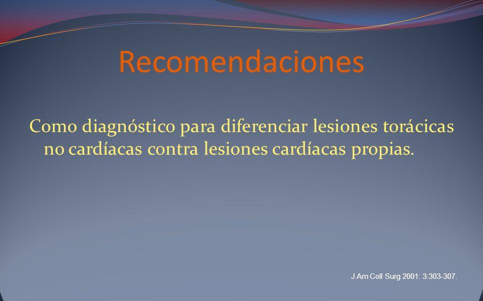 Recomendaciones Como diagnóstico para diferenciar lesiones torácicas no cardíacas contra lesiones cardíacas propias. J Am Coll Surg 2001: 3:303-307.