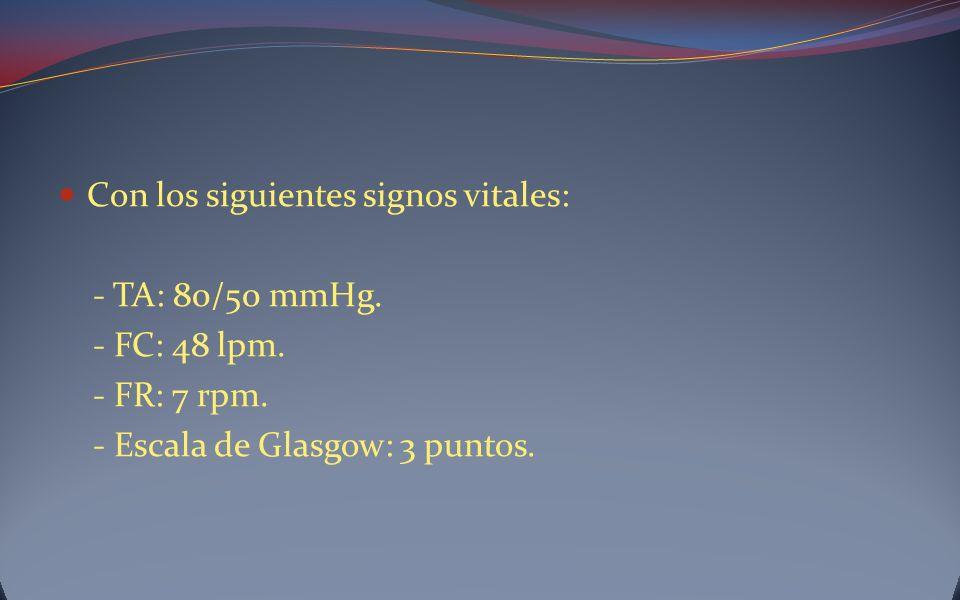 Con los siguientes signos vitales: - TA: 80/50 mmHg. - FC: 48 lpm. - FR: 7 rpm. - Escala de Glasgow: 3 puntos.