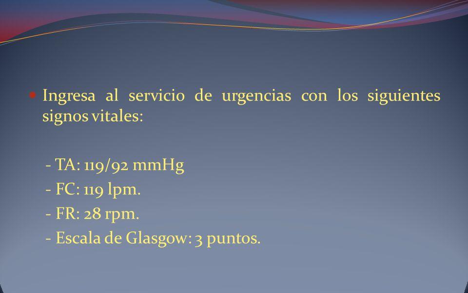 Ingresa al servicio de urgencias con los siguientes signos vitales: - TA: 119/92 mmHg - FC: 119 lpm. - FR: 28 rpm. - Escala de Glasgow: 3 puntos.