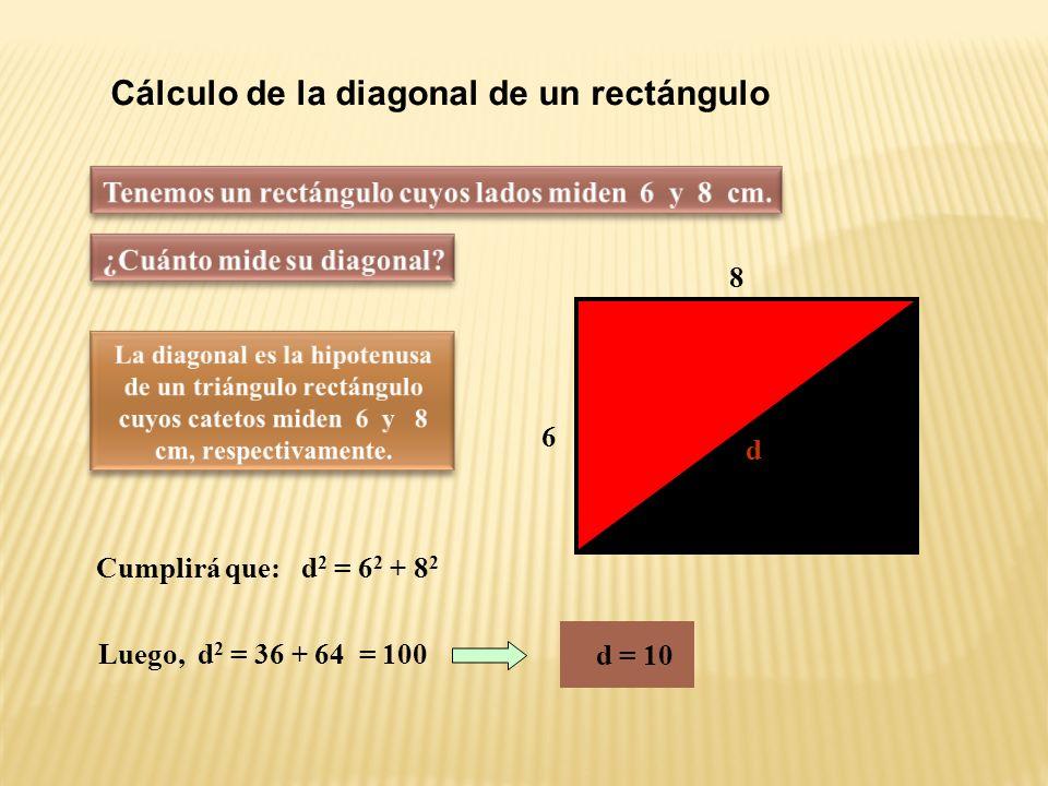 Reconociendo triángulos rectángulos Pero 60 2 + 80 2 = 3600 + 6400 = 10000 La ventana está mal construida a b c Mientras que 102 2 = 10404 Son distintos 80 cm 60 cm 102 cm