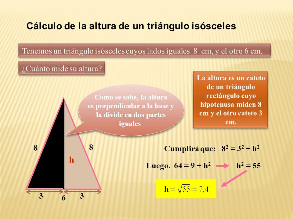 Cálculo de la diagonal de un rectángulo Luego, d 2 = 36 + 64 = 100 6 8 d Cumplirá que: d 2 = 6 2 + 8 2 d = 10