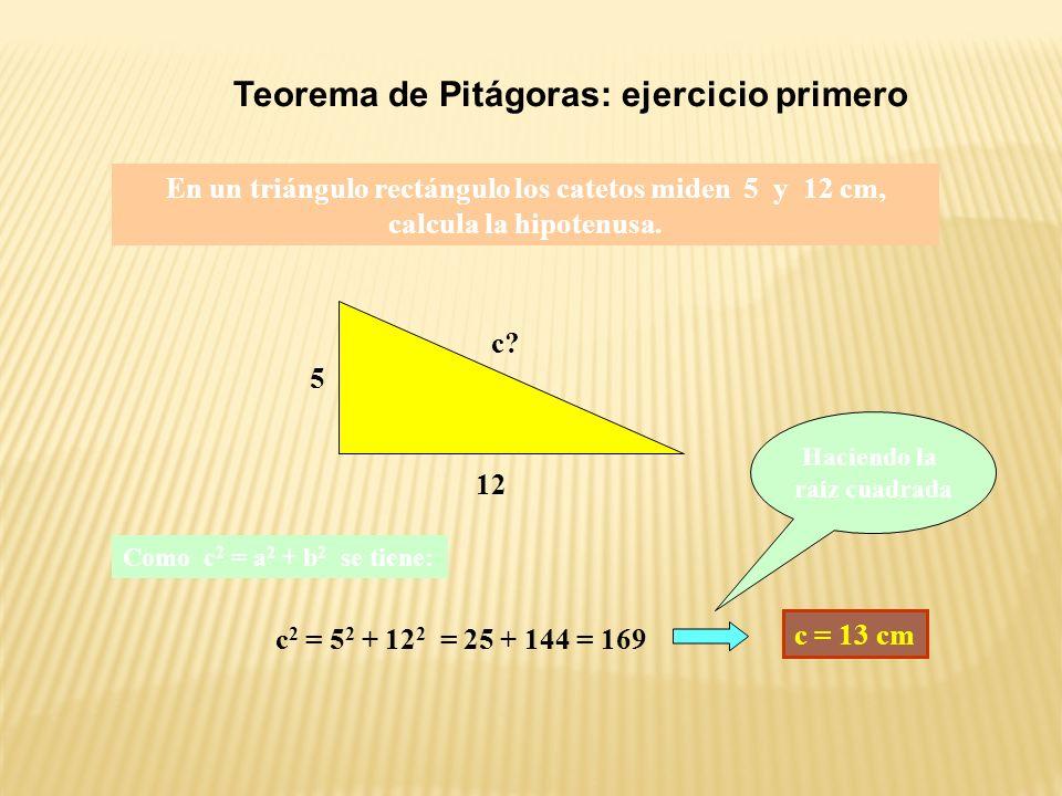 Teorema de Pitágoras: segunda comprobación Consideramos un cuadrado de 7 cm de lado.