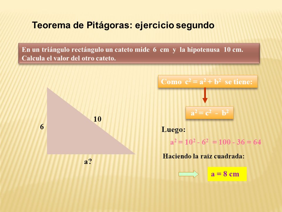 Teorema de Pitágoras: ejercicio primero En un triángulo rectángulo los catetos miden 5 y 12 cm, calcula la hipotenusa.