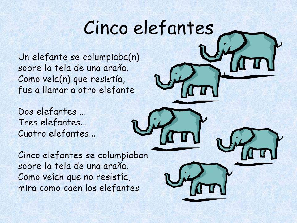 Cinco elefantes Un elefante se columpiaba(n) sobre la tela de una araña.
