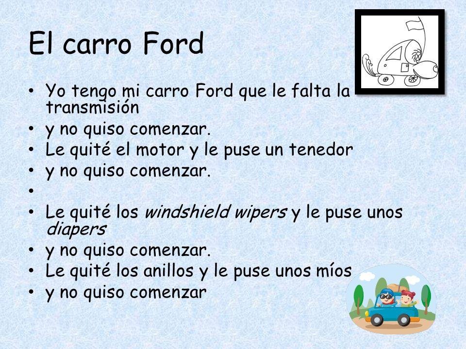 El carro Ford Yo tengo mi carro Ford que le falta la transmisión y no quiso comenzar.
