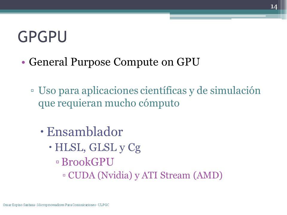 GPGPU General Purpose Compute on GPU Uso para aplicaciones científicas y de simulación que requieran mucho cómputo Ensamblador HLSL, GLSL y Cg BrookGP