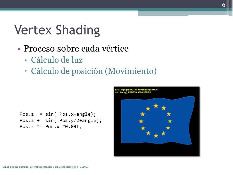 Vertex Shading Proceso sobre cada vértice Cálculo de luz Cálculo de posición (Movimiento) 6 Omar Espino Santana - Microprocesadores Para Comunicacione
