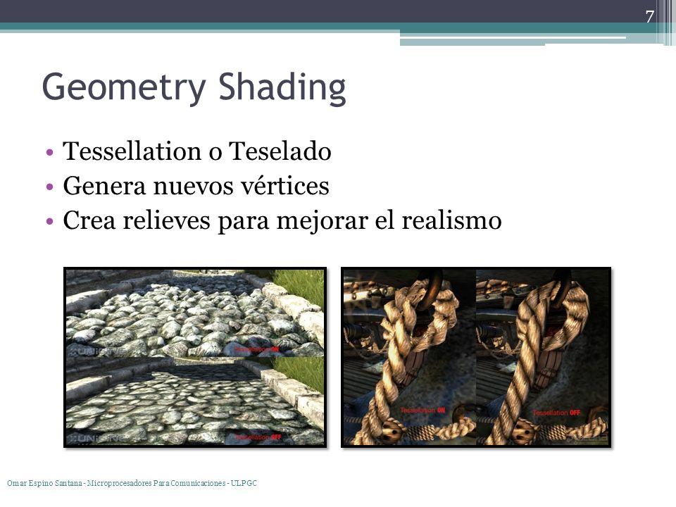 Geometry Shading Tessellation o Teselado Genera nuevos vértices Crea relieves para mejorar el realismo 7 Omar Espino Santana - Microprocesadores Para