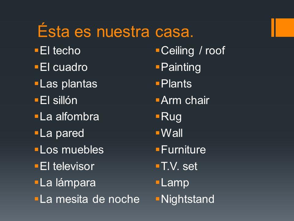 Ésta es nuestra casa. El techo El cuadro Las plantas El sillón La alfombra La pared Los muebles El televisor La lámpara La mesita de noche Ceiling / r