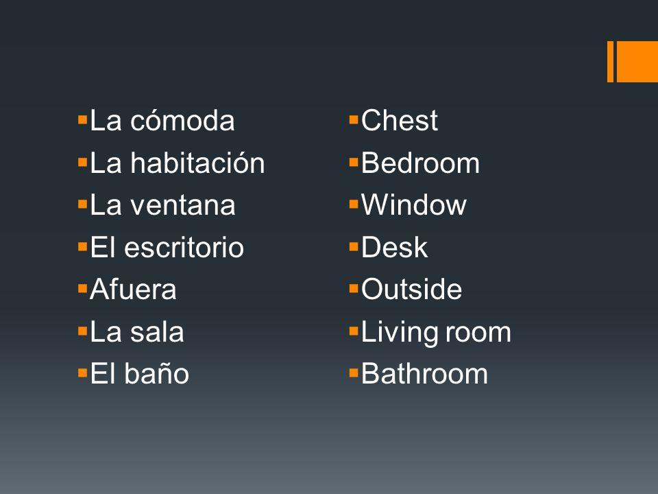 La cómoda La habitación La ventana El escritorio Afuera La sala El baño Chest Bedroom Window Desk Outside Living room Bathroom