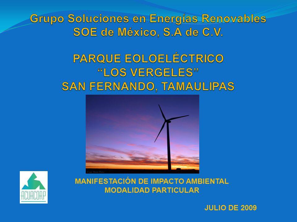 MANIFESTACIÓN DE IMPACTO AMBIENTAL MODALIDAD PARTICULAR JULIO DE 2009