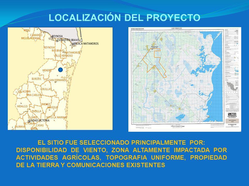 LOCALIZACIÓN DEL PROYECTO EL SITIO FUE SELECCIONADO PRINCIPALMENTE POR: DISPONIBILIDAD DE VIENTO, ZONA ALTAMENTE IMPACTADA POR ACTIVIDADES AGRÍCOLAS, TOPOGRAFIA UNIFORME, PROPIEDAD DE LA TIERRA Y COMUNICACIONES EXISTENTES