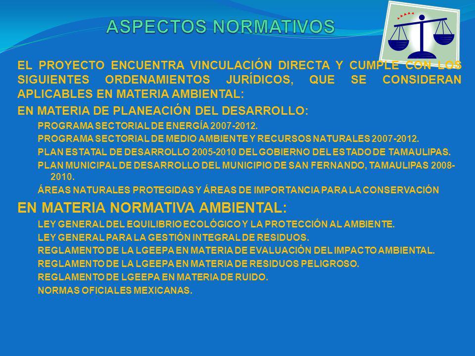 EL PROYECTO ENCUENTRA VINCULACIÓN DIRECTA Y CUMPLE CON LOS SIGUIENTES ORDENAMIENTOS JURÍDICOS, QUE SE CONSIDERAN APLICABLES EN MATERIA AMBIENTAL: EN MATERIA DE PLANEACIÓN DEL DESARROLLO: PROGRAMA SECTORIAL DE ENERGÍA 2007-2012.