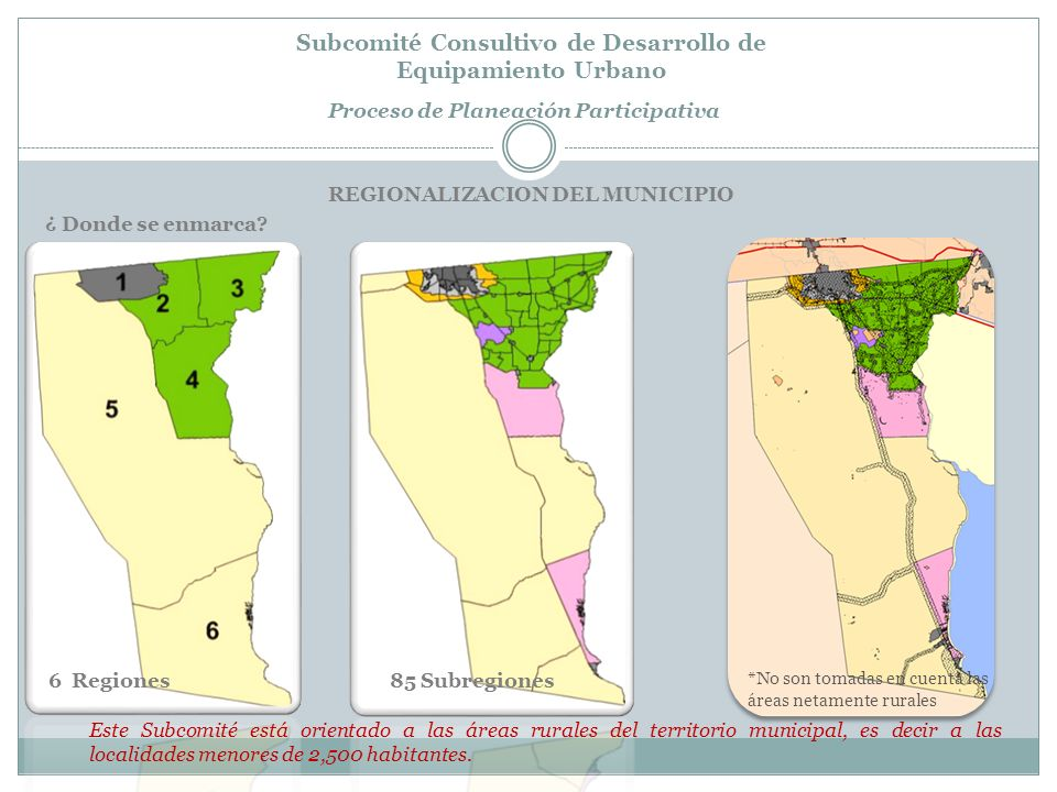 Subcomité Consultivo de Desarrollo de Equipamiento Urbano Proceso de Planeación Participativa En general el equipamiento urbano en el municipio de Mexicali, cuenta con una alta cobertura, tanto en la ciudad como en las áreas rurales, que indica los esfuerzos gubernamentales y el apoyo ciudadano por proporcionar una atención adecuada de esta materia.
