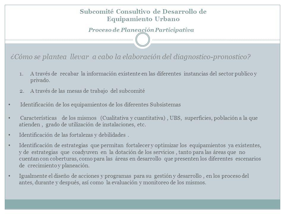Subcomité Consultivo de Desarrollo de Equipamiento Urbano Proceso de Planeación Participativa ¿Cómo se plantea llevar a cabo la elaboración del diagnostico-pronostico.
