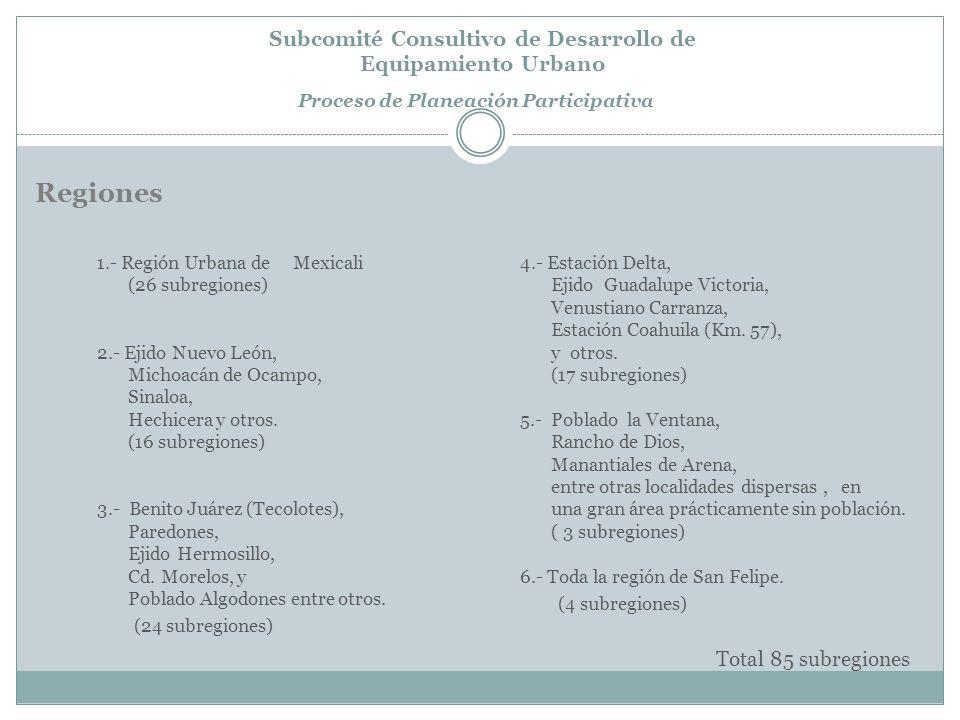 Regiones Subcomité Consultivo de Desarrollo de Equipamiento Urbano Proceso de Planeación Participativa 1.- Región Urbana de Mexicali (26 subregiones) 2.- Ejido Nuevo León, Michoacán de Ocampo, Sinaloa, Hechicera y otros.
