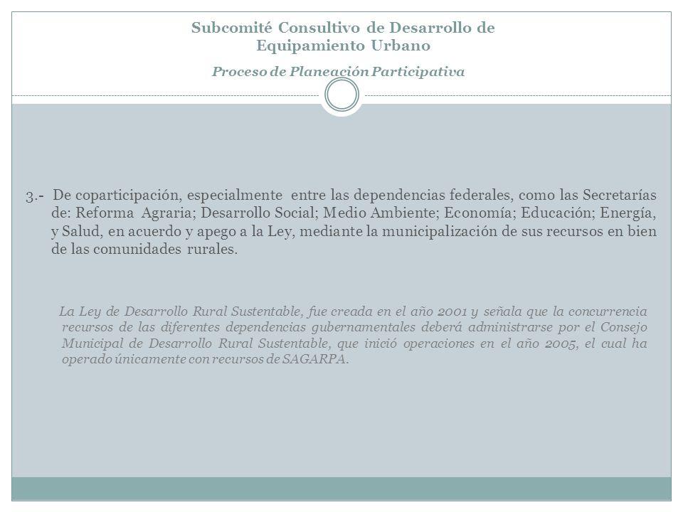 Subcomité Consultivo de Desarrollo de Equipamiento Urbano Proceso de Planeación Participativa Nivel 1