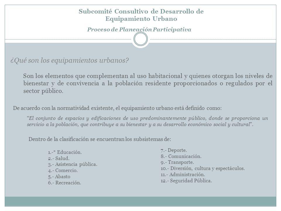 Subcomité Consultivo de Desarrollo de Equipamiento Urbano Proceso de Planeación Participativa * El subsistema educación es el de mayor impacto en la funcionalidad de las ciudades del municipio de Mexicali, debido a los efectos que los desplazamientos generan.