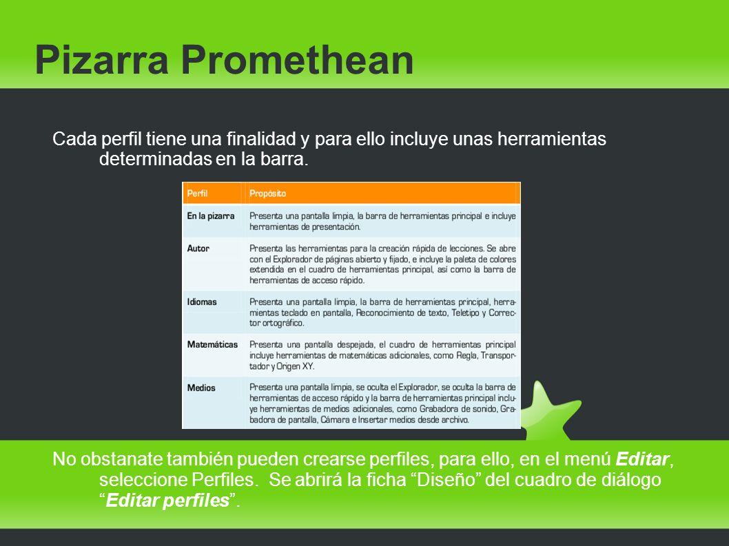 Pizarra Promethean Cada perfil tiene una finalidad y para ello incluye unas herramientas determinadas en la barra. No obstanate también pueden crearse