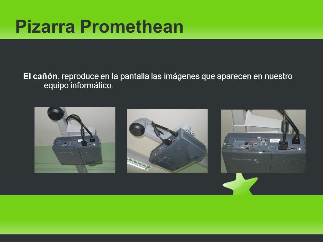 Pizarra Promethean El cañón, reproduce en la pantalla las imágenes que aparecen en nuestro equipo informático.