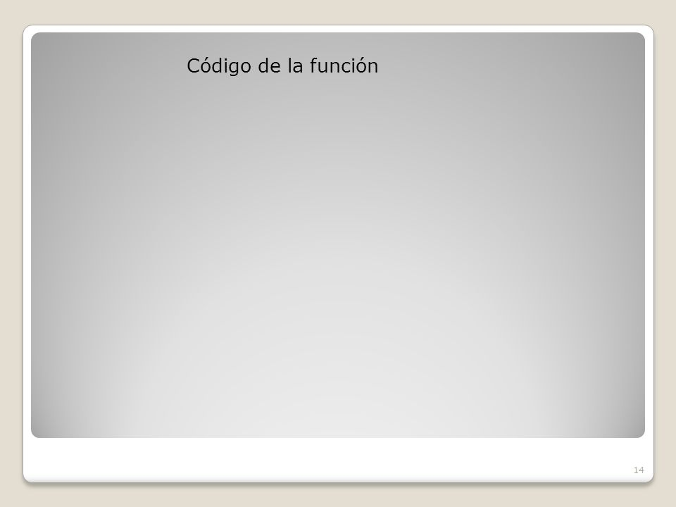 Código de la función 14