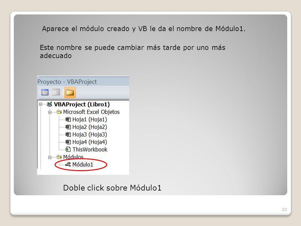 Aparece el módulo creado y VB le da el nombre de Módulo1.