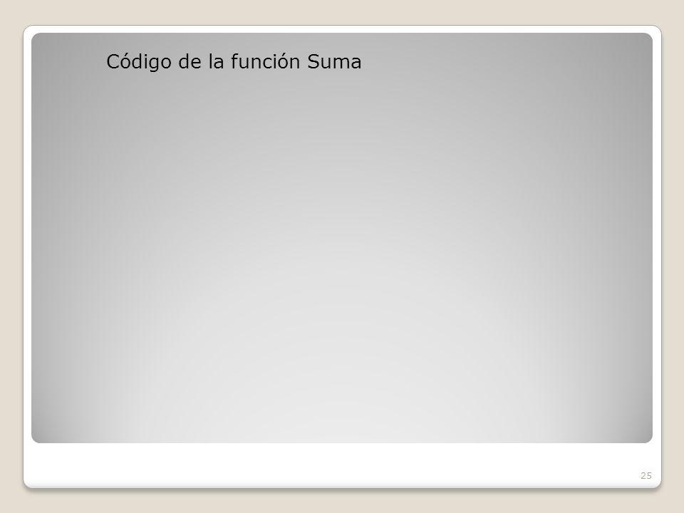 Código de la función Suma 25