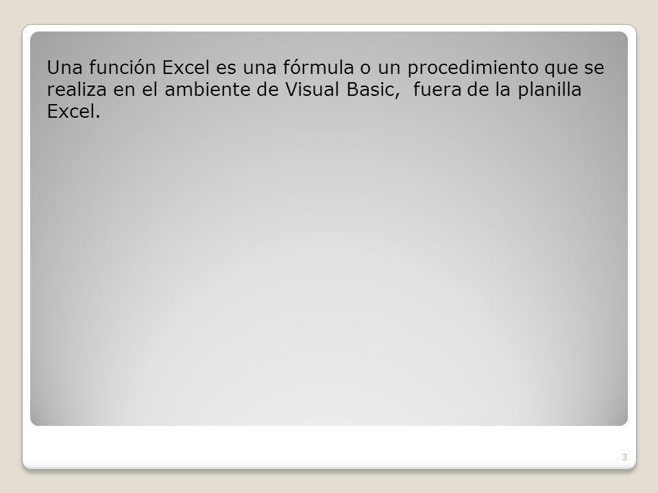 Una función Excel es una fórmula o un procedimiento que se realiza en el ambiente de Visual Basic, fuera de la planilla Excel.
